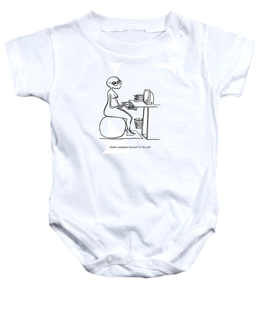 Stella Baby Onesie featuring the digital art Home Office by Leanne Wilkes