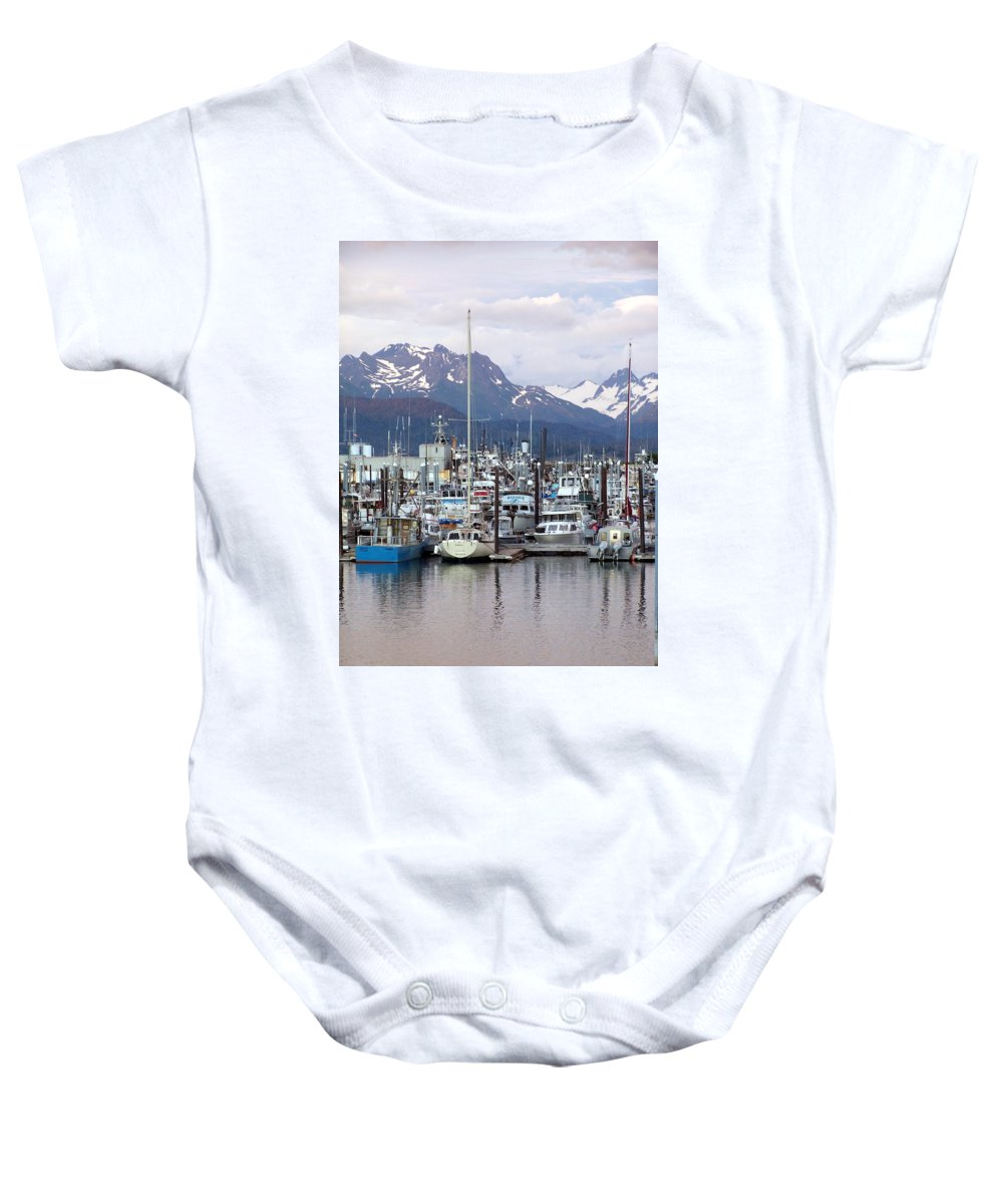 Homer Alaska Baby Onesie featuring the photograph Homer Harbor by Marty Koch