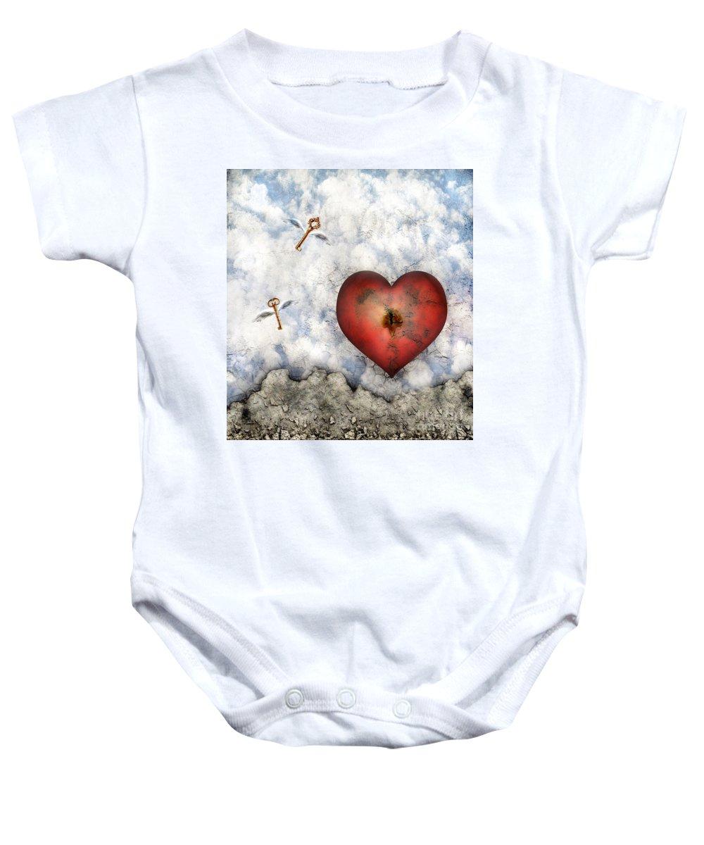 Heart Baby Onesie featuring the digital art Hope Floats by Jacky Gerritsen