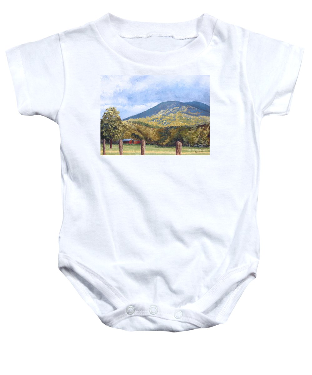 Landscape Baby Onesie featuring the painting Horse Barn At Cades Cove by Todd Blanchard