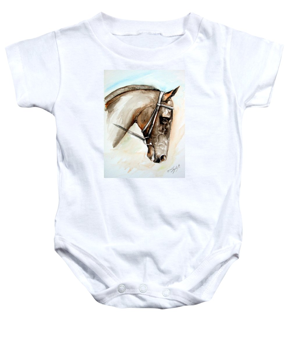 Horse Baby Onesie featuring the painting Horse Head by Leyla Munteanu