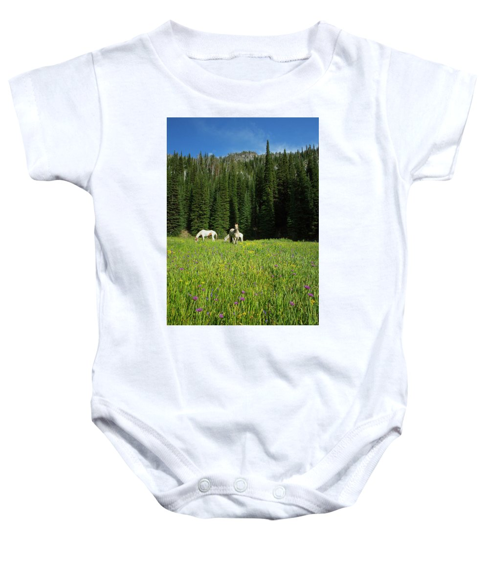 Wallowa Baby Onesie featuring the photograph Horses Getting A Break by Belinda Greb