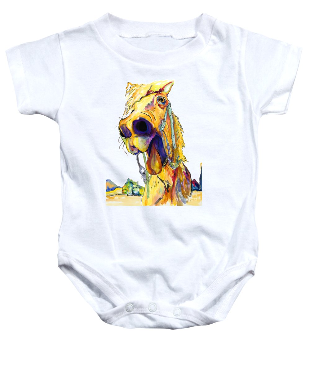 Animal Painting Baby Onesie featuring the painting Horsing Around by Pat Saunders-White