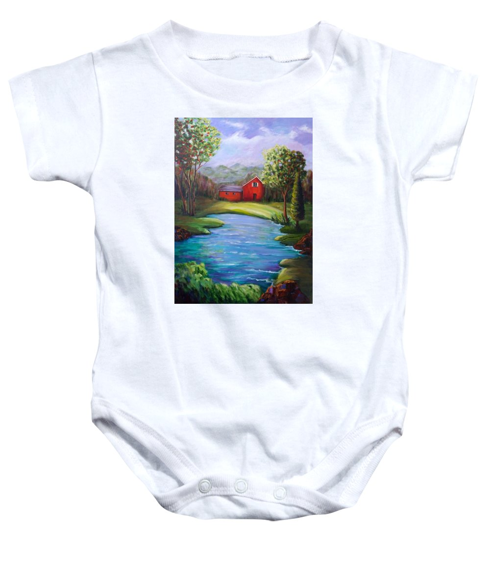 Landscape Baby Onesie featuring the painting House By The Lake by Rosie Sherman