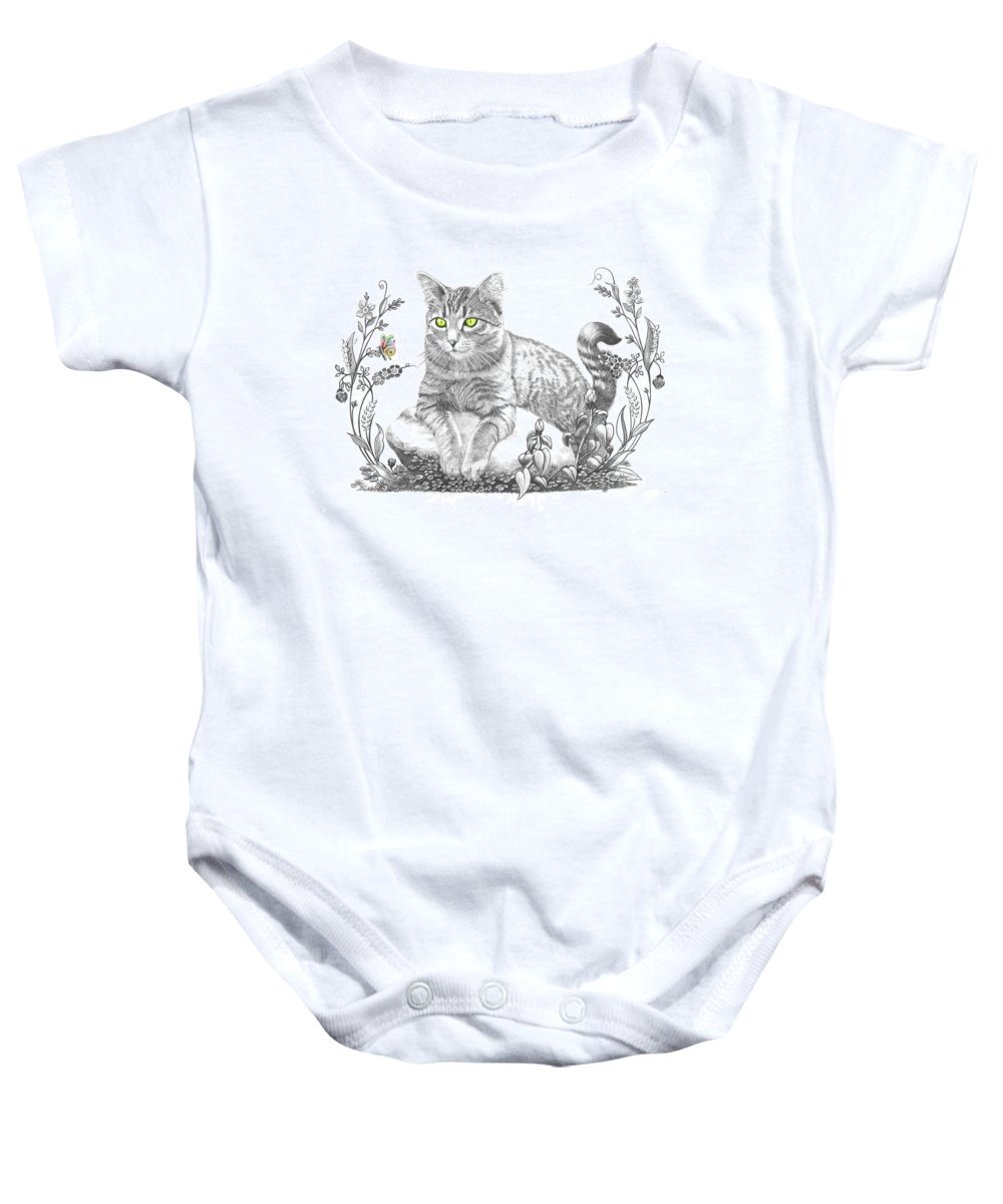 Cat Baby Onesie featuring the drawing House Cat by Murphy Elliott
