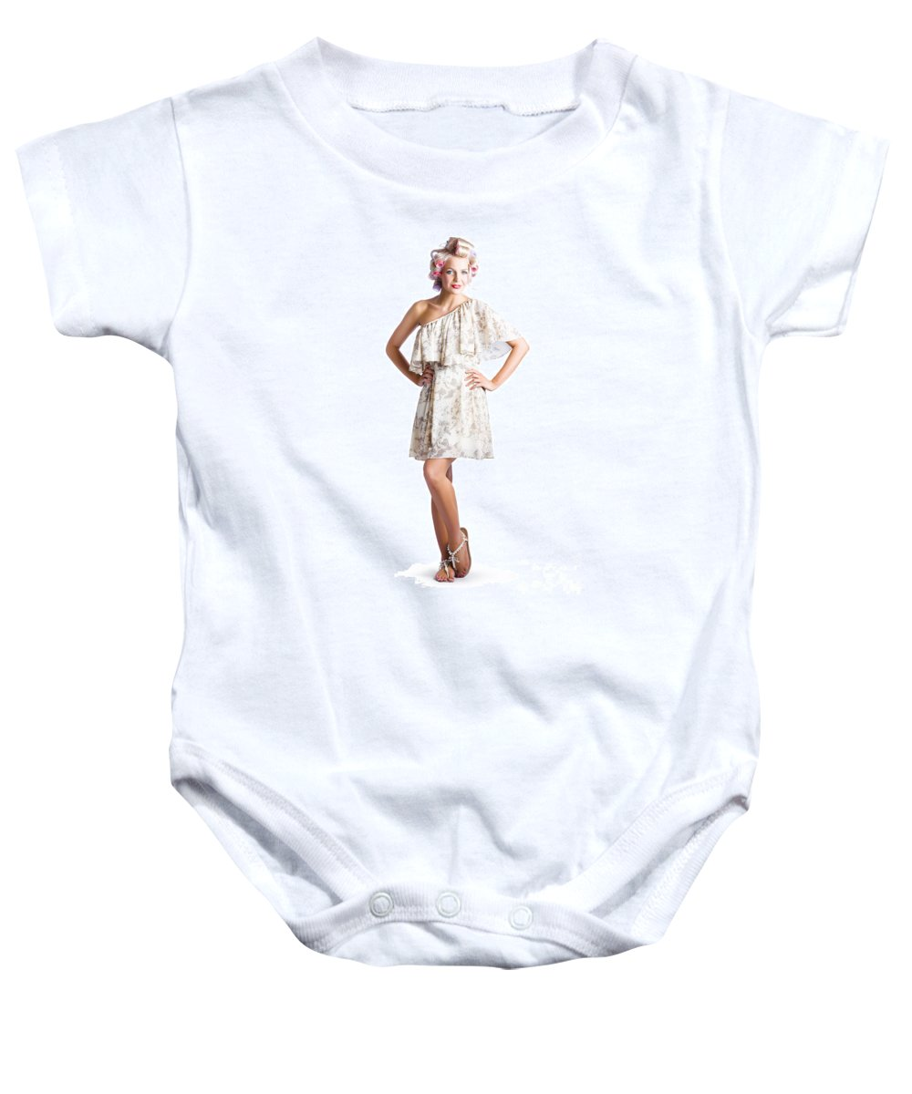 Adult Baby Onesie featuring the photograph Housewife With Curlers In Hair by Jorgo Photography - Wall Art Gallery