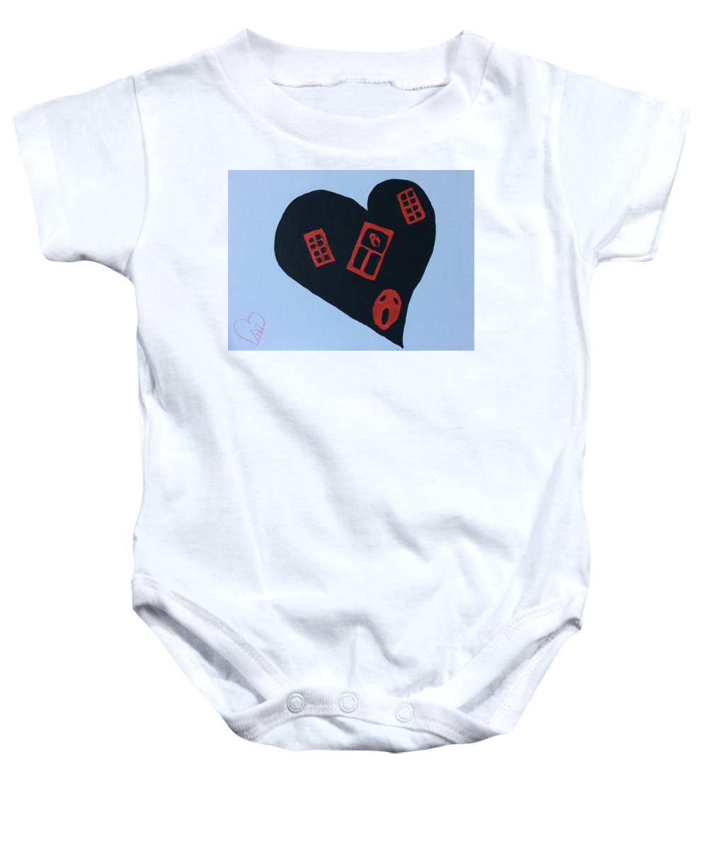 Heart Baby Onesie featuring the painting How? by Masha Mark