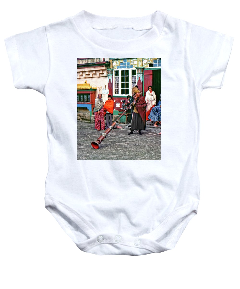 Ghoom Monastery Baby Onesie featuring the photograph Huff And Puff by Steve Harrington