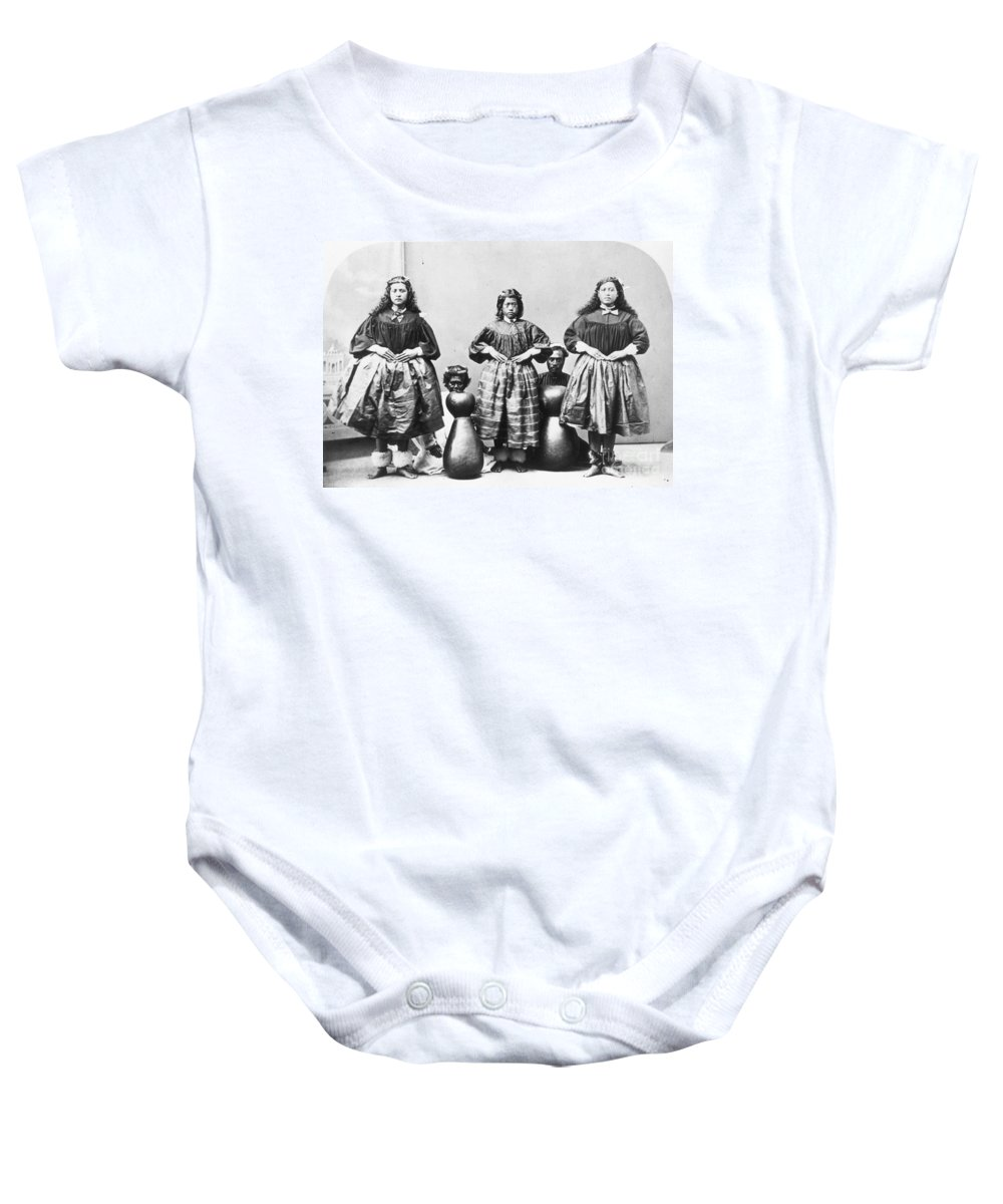 1875 Baby Onesie featuring the photograph Hula Dancers, C1875 by Granger