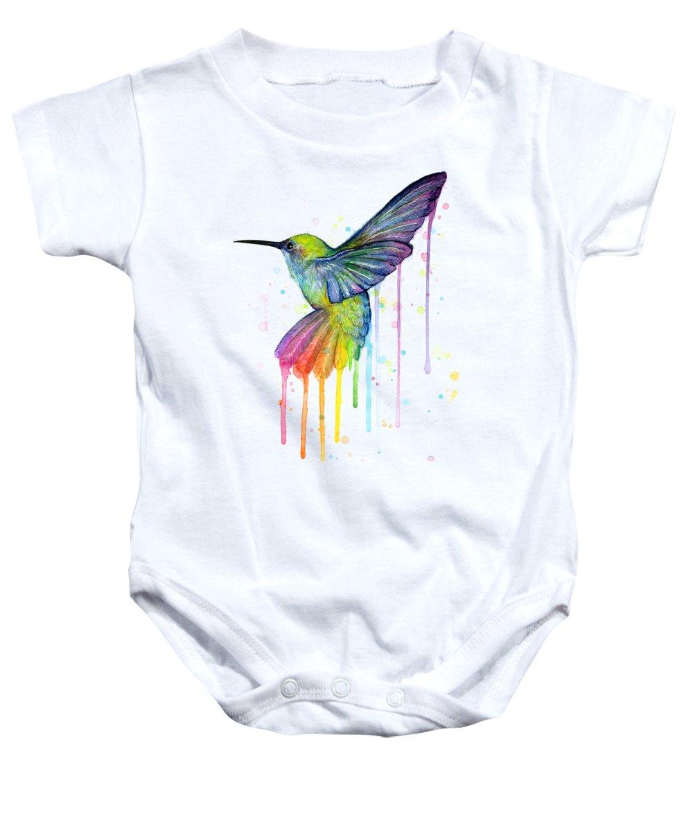 Hummingbird Baby Onesie featuring the painting Hummingbird Of Watercolor Rainbow by Olga Shvartsur