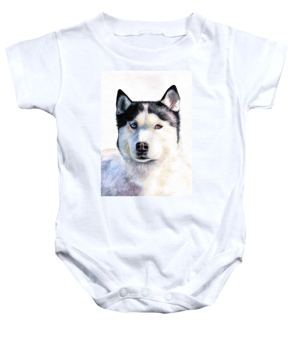 Dog Baby Onesie featuring the painting Husky Blue by Nicole Zeug