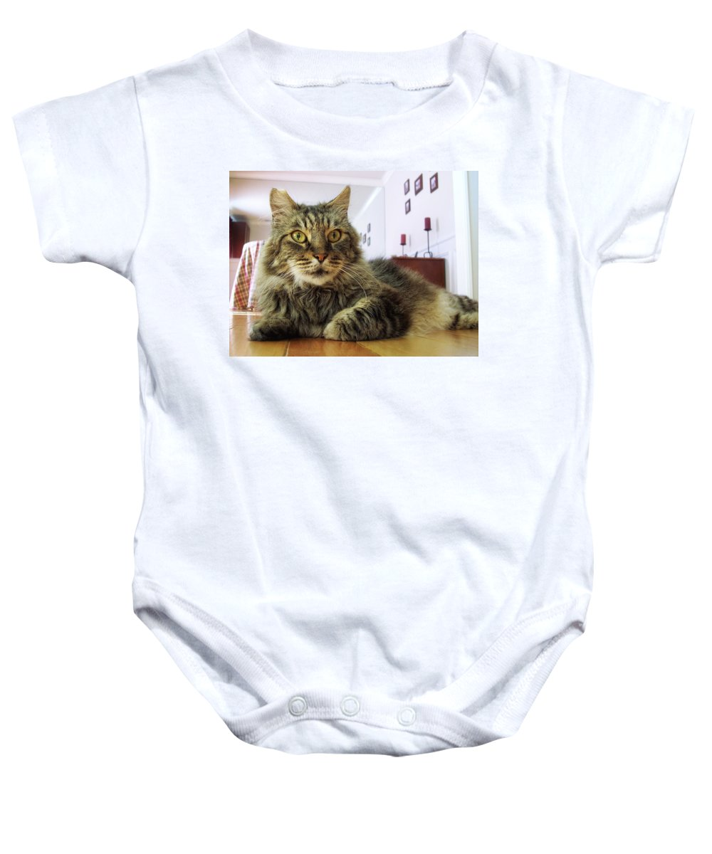 Mouse Baby Onesie featuring the photograph I Smell Mouse by Donna Blackhall