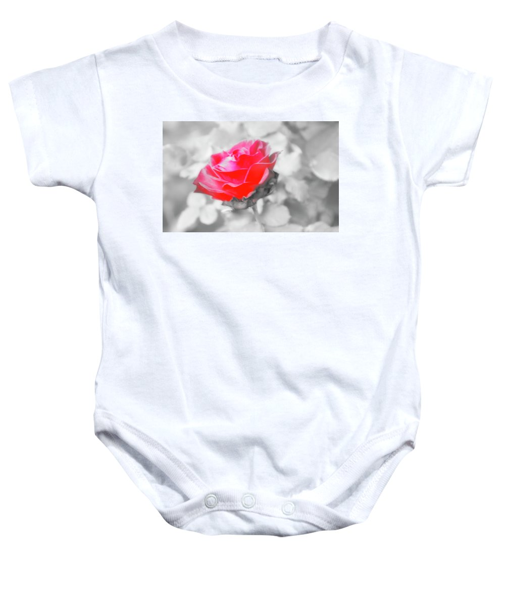 Rose Baby Onesie featuring the photograph Iced Rose by Cate Franklyn