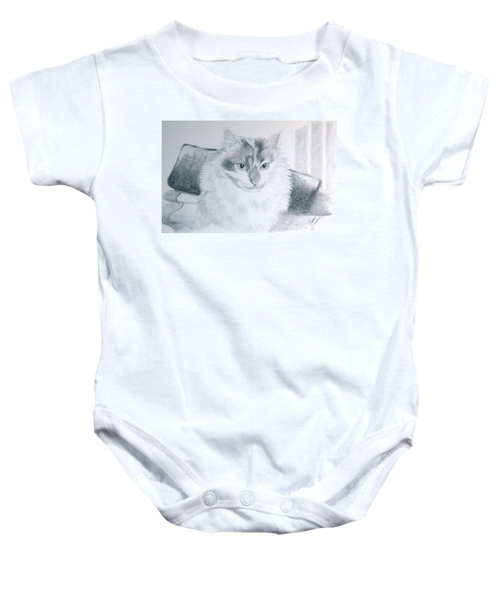 Cat Baby Onesie featuring the drawing Idget by Joette Snyder