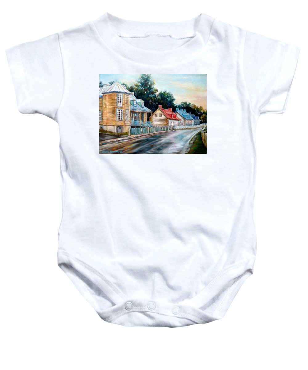 Ile D'orleans Baby Onesie featuring the painting Ile D'orleans Quebec Street Scene by Carole Spandau