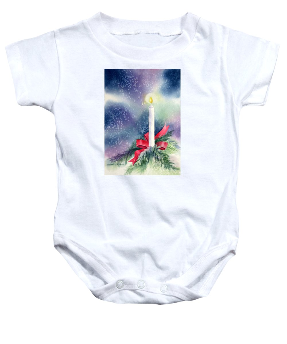 Candle Baby Onesie featuring the painting Illumination by Deborah Ronglien