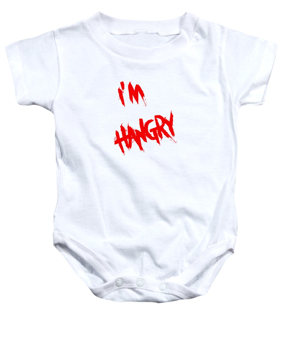 Baby Onesie featuring the digital art I'm Hangry by Kristen Franco