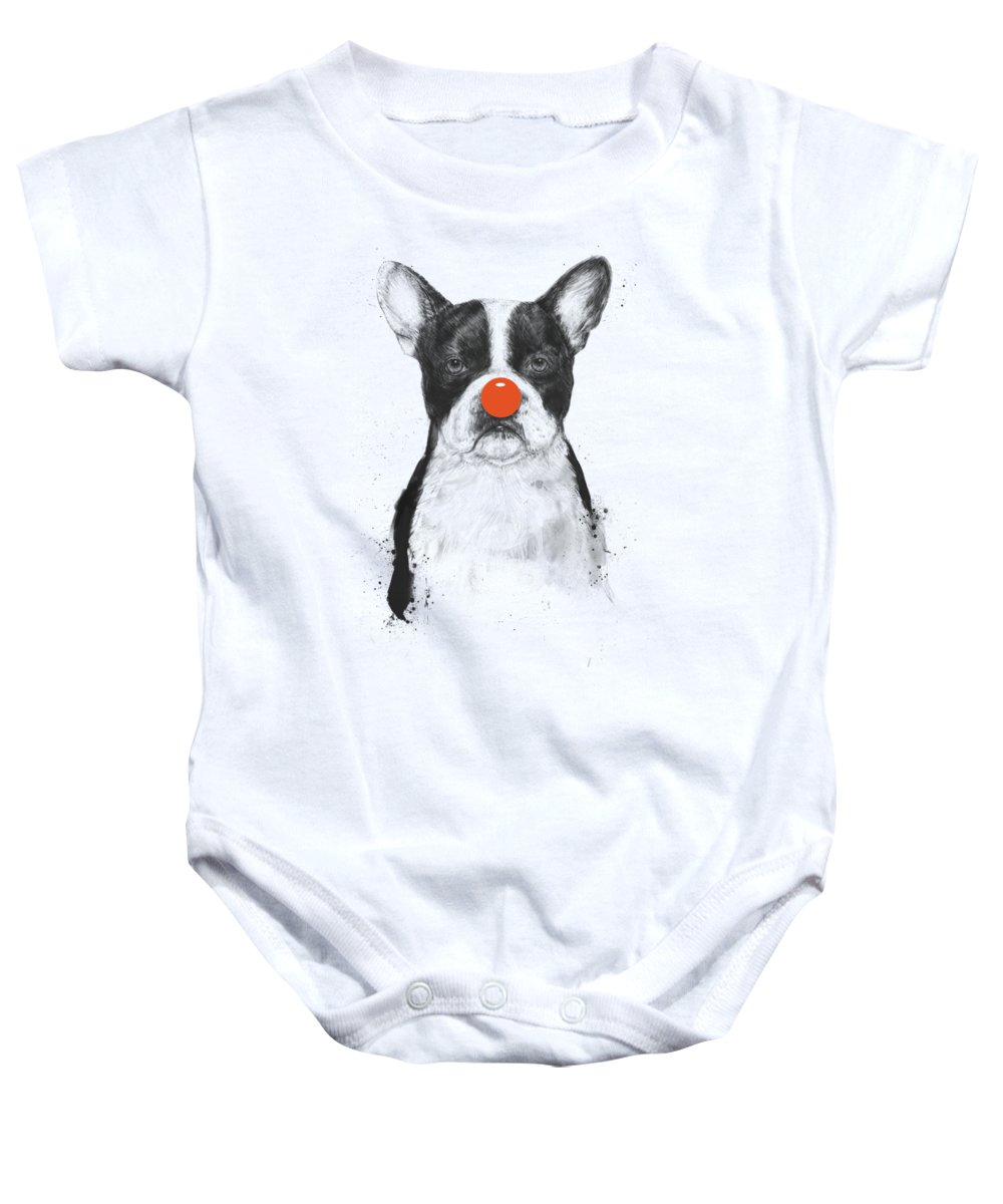 Dog Baby Onesie featuring the mixed media I'm not your clown by Balazs Solti