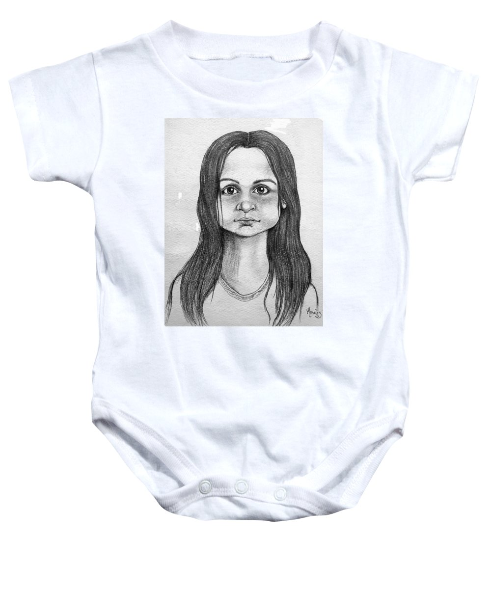 Portrait Baby Onesie featuring the drawing Immigrant Girl by Marco Morales