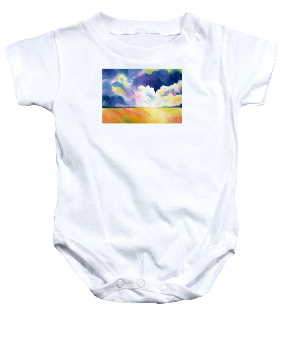 Storm Baby Onesie featuring the painting Impending Storm by Deborah Ronglien