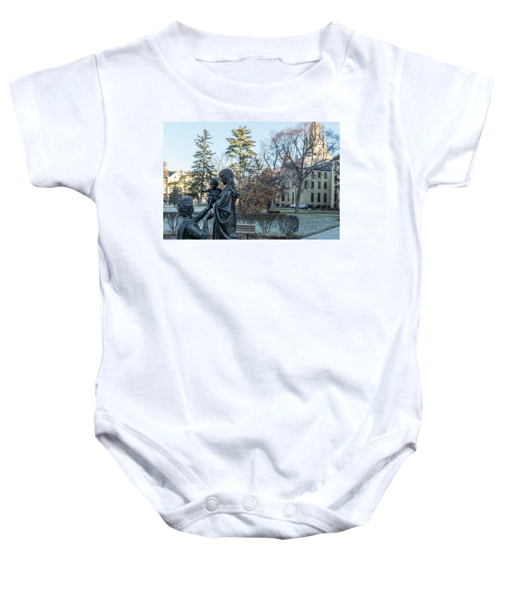 American University Baby Onesie featuring the photograph In Celebration Of Family Notre Dame 2 by John McGraw