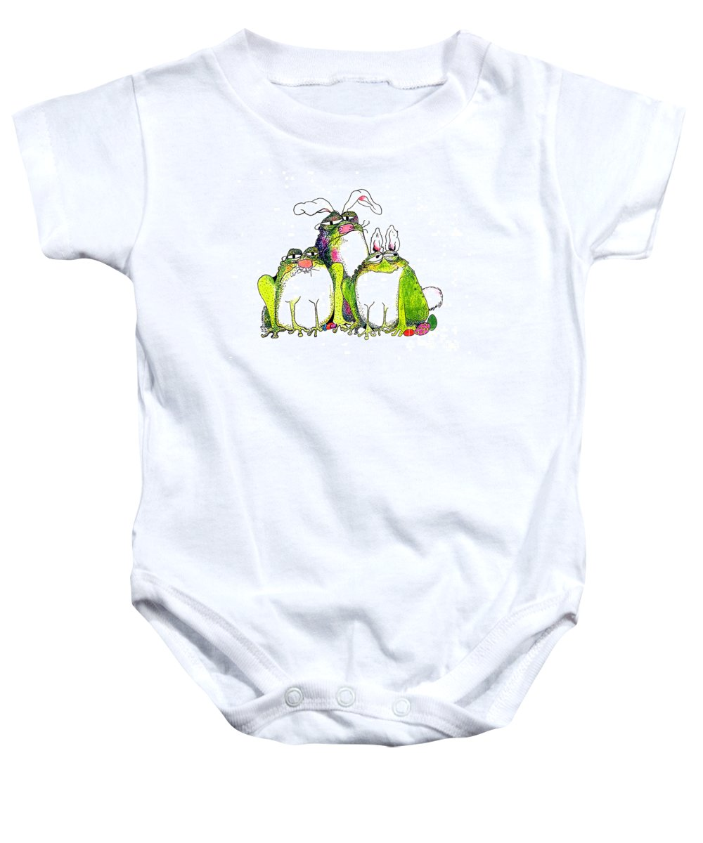 Easter Bunnies Baby Onesie featuring the painting In Disguise by Pat Saunders-White