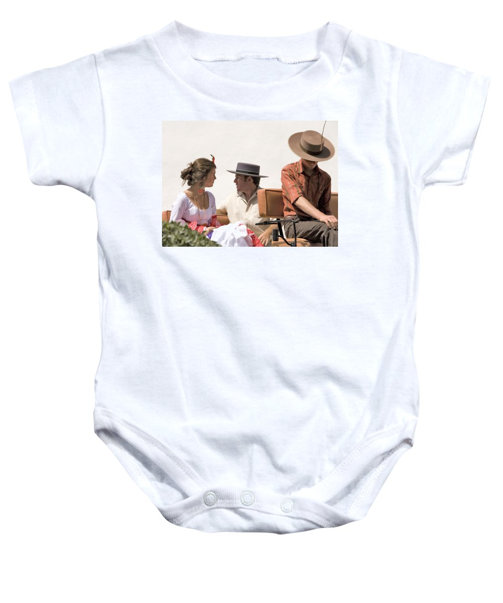 Flamenco Baby Onesie featuring the photograph In Flamenco Dress For The Bullfight by Mal Bray
