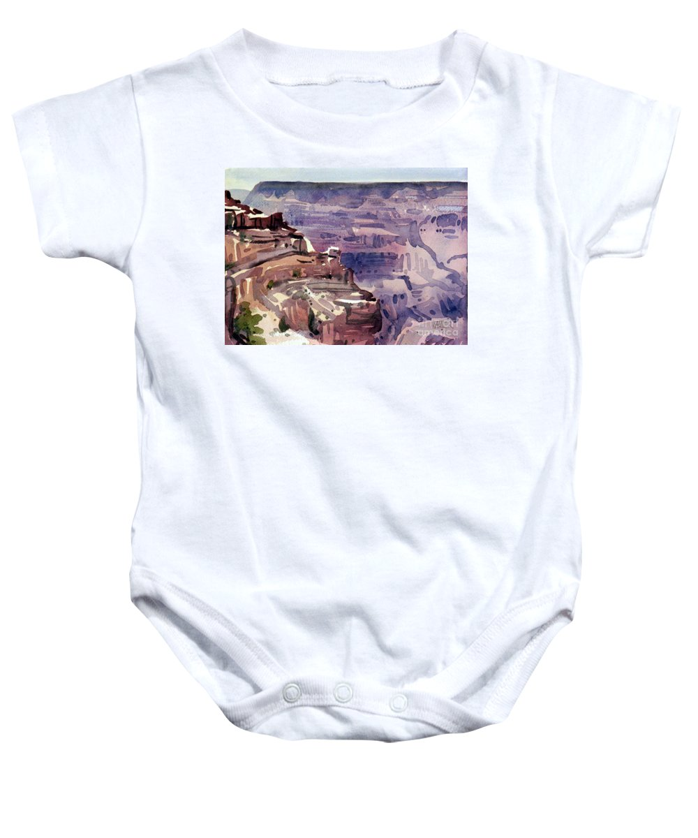 Grand Canyon Baby Onesie featuring the painting In The Canyon by Donald Maier
