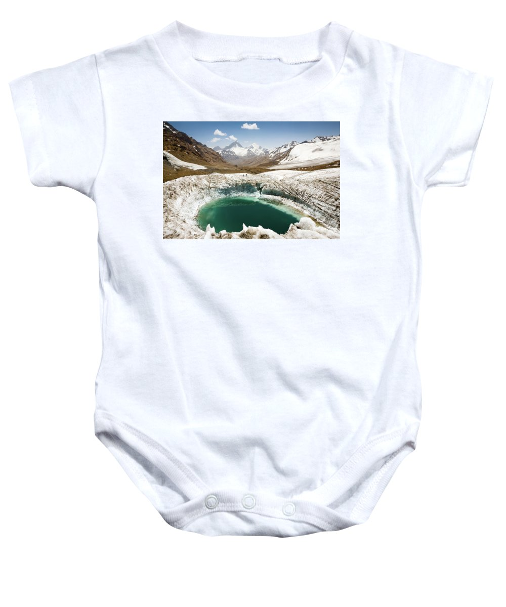 Art Baby Onesie featuring the photograph In The Depth Of Pamir by Konstantin Dikovsky