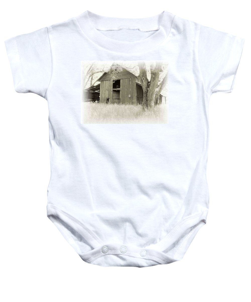 Barn Baby Onesie featuring the photograph In The Pecan Orchard by Nelson Strong