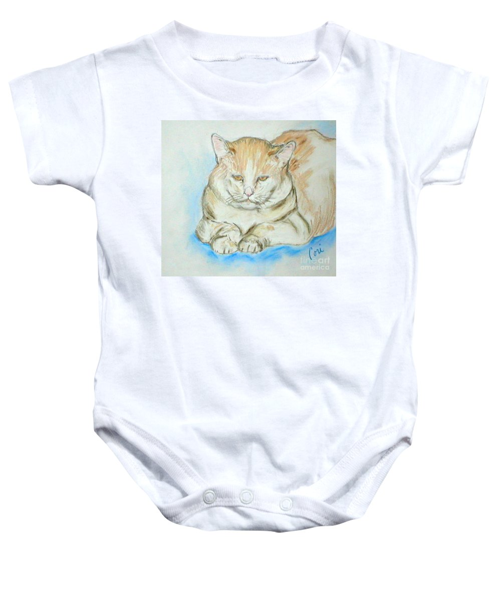Pastel Baby Onesie featuring the drawing In Waiting by Cori Solomon