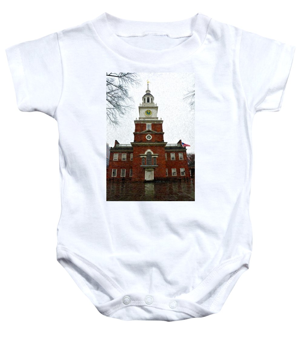 Independence Hall In Philadelphia Baby Onesie featuring the photograph Independence Hall In Philadelphia by Bill Cannon