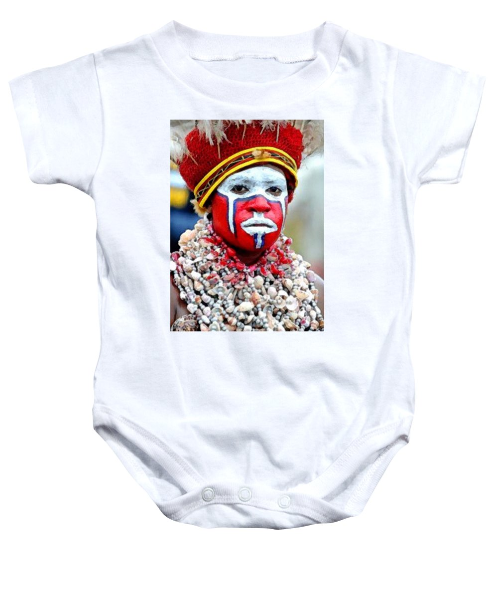 Africa Baby Onesie featuring the painting Indigenous Woman L B by Gert J Rheeders