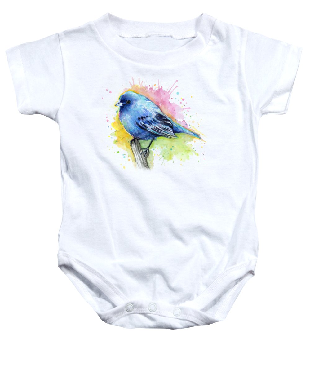 Blue Baby Onesie featuring the painting Indigo Bunting Blue Bird Watercolor by Olga Shvartsur