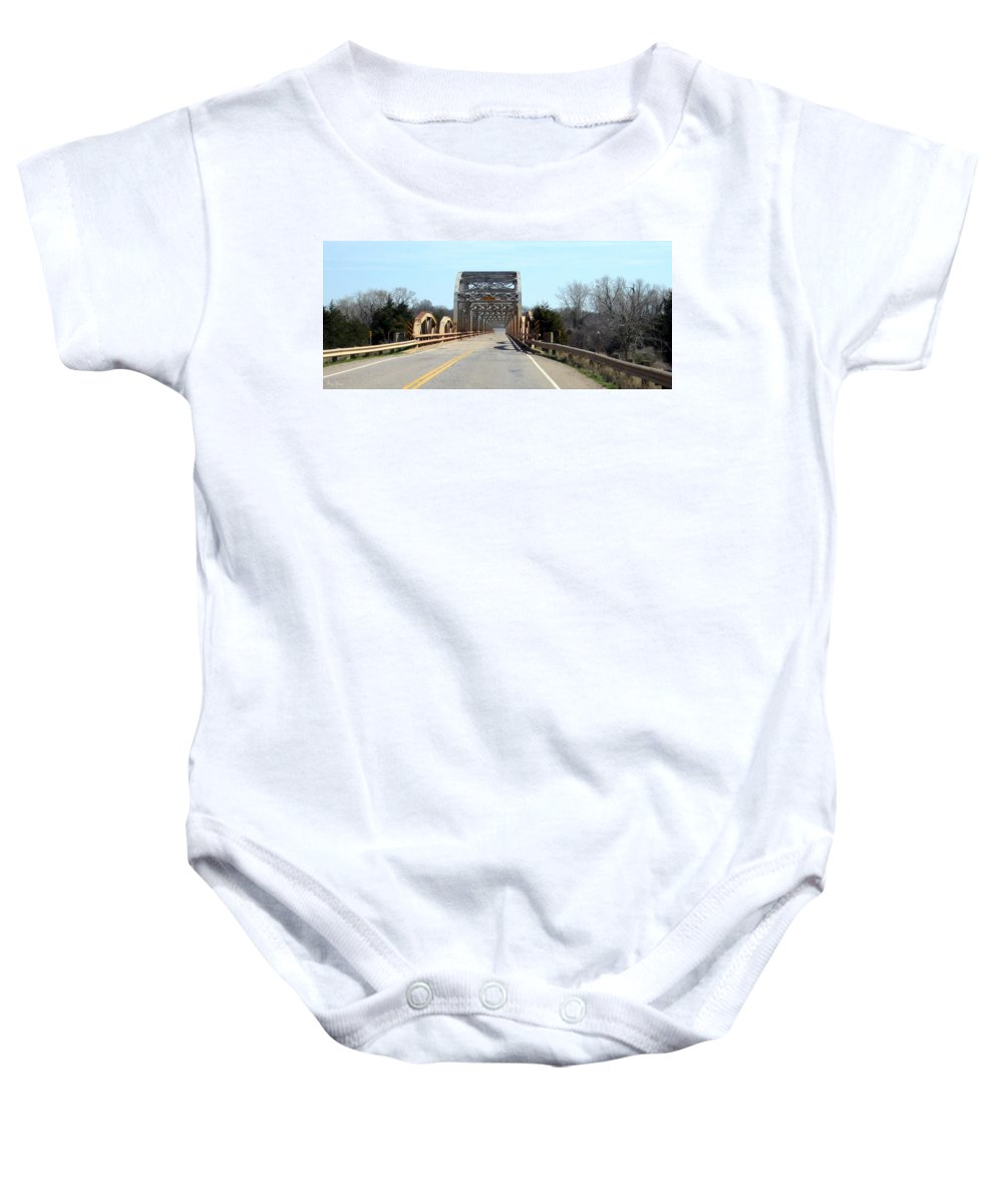 Red River Baby Onesie featuring the photograph Industrial Bridge Over The Red River by Amy Hosp