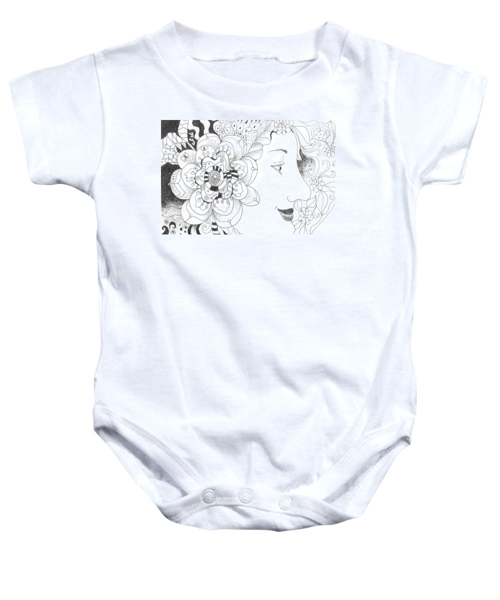 Life Baby Onesie featuring the drawing Innocence And Experience by Helena Tiainen