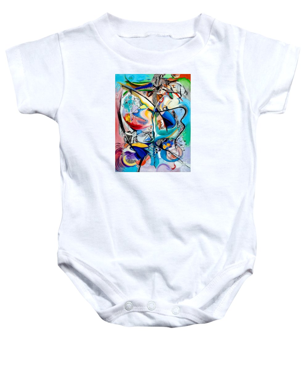 Abstract Baby Onesie featuring the painting Intimate Glimpses - Journey Of Life by Kerryn Madsen-Pietsch