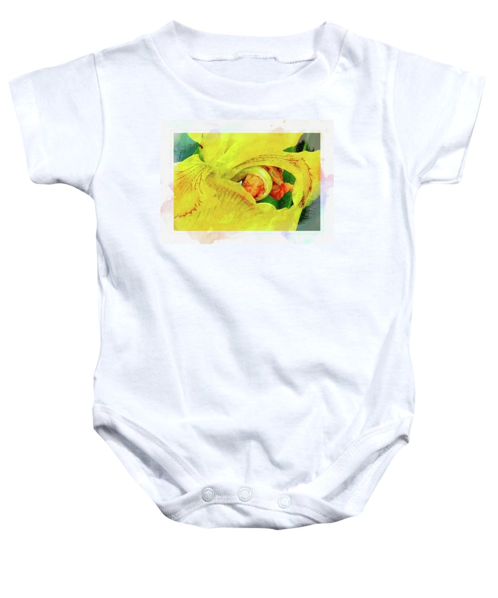 Flower Baby Onesie featuring the photograph Iris In Abstract by Ches Black