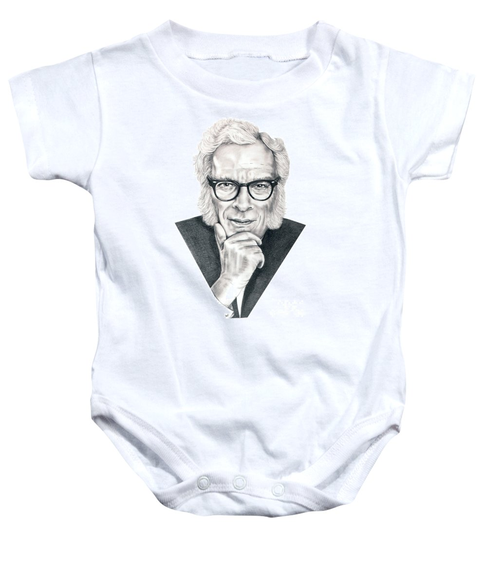 Portrait Baby Onesie featuring the drawing Isaac Asimov by Murphy Elliott