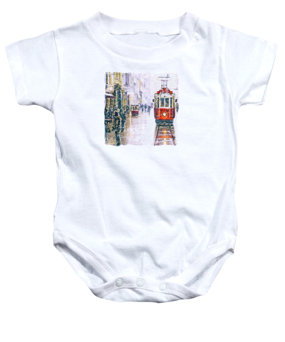 Istanbul Baby Onesie featuring the painting Istanbul Nostalgic Tramway by Marian Voicu
