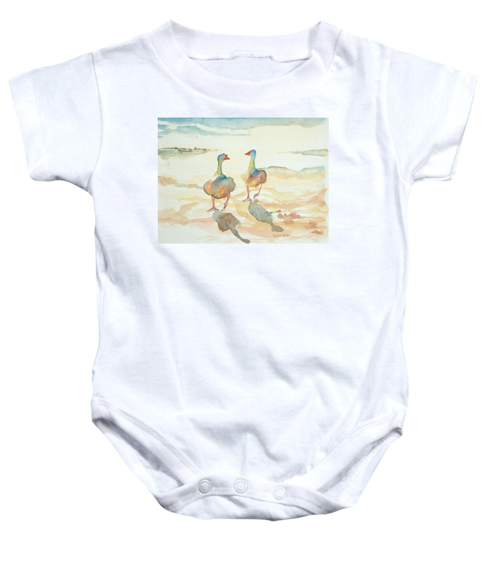 Watercolors For Sale Baby Onesie featuring the painting It's A Ducky Day by Debbie Lewis