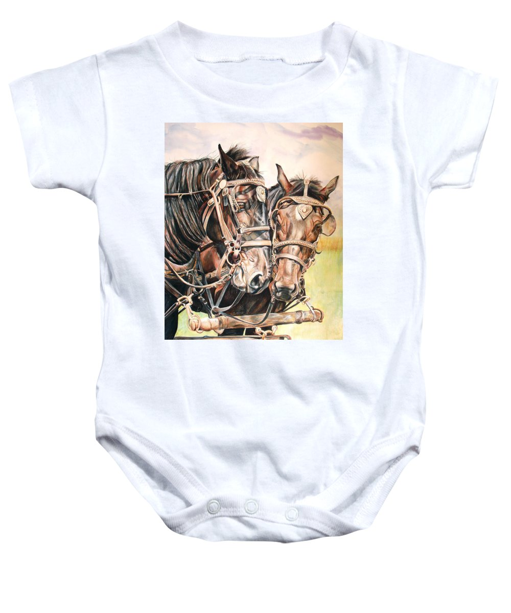 Black Baby Onesie featuring the painting Jack And Joe Hard Workin Horses by Toni Grote