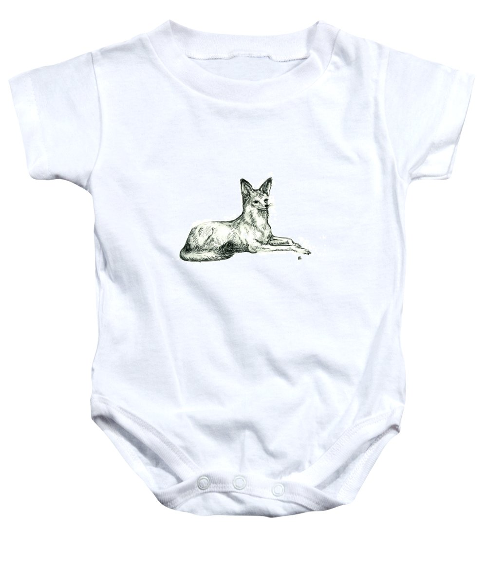 Wild Baby Onesie featuring the drawing Jackal Sketch by Shirley Heyn