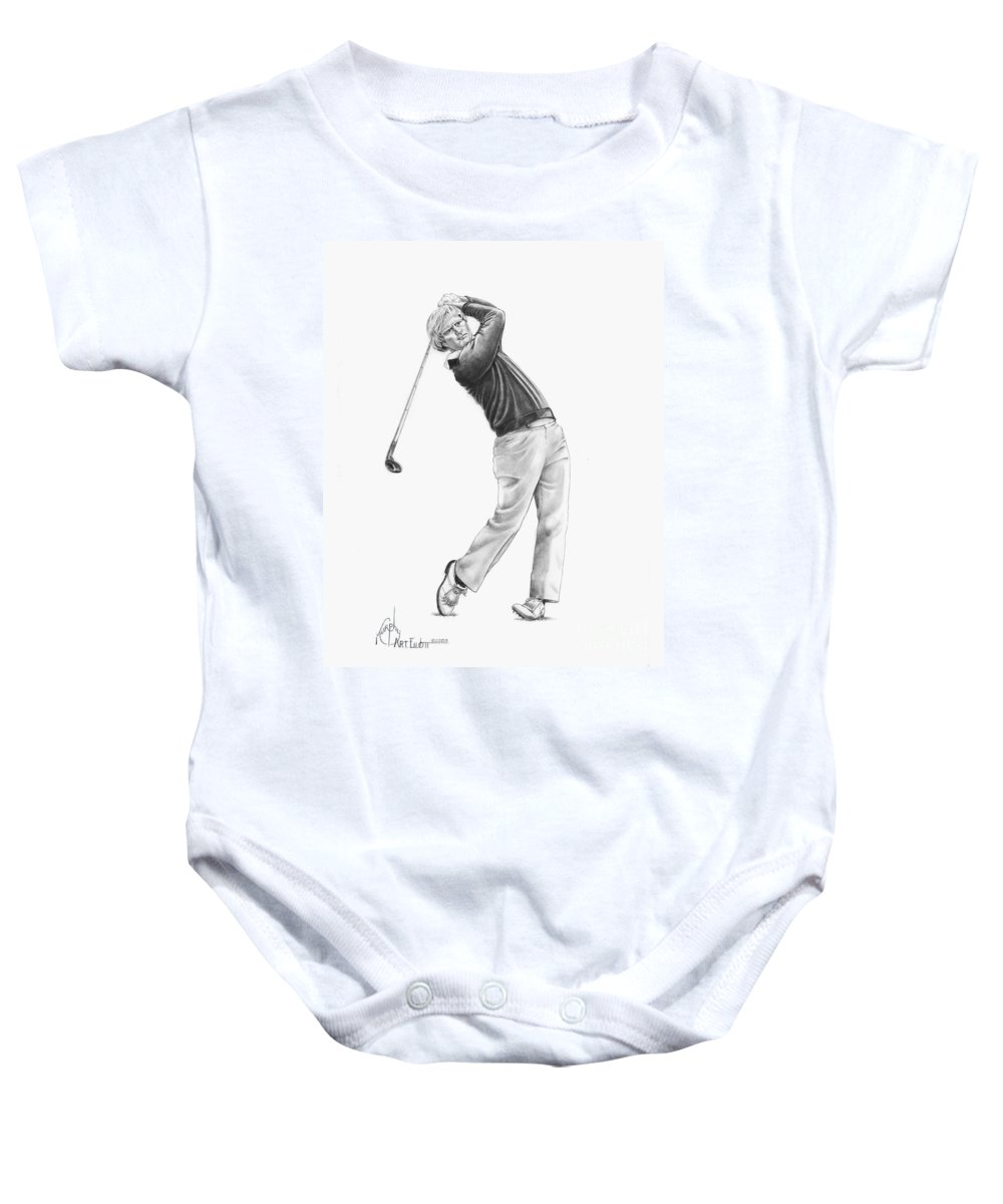 Jack Nickolas Baby Onesie featuring the drawing Jacl Nicklaus by Murphy Elliott