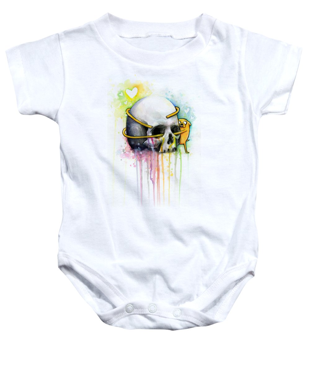Adventure Time Baby Onesie featuring the painting Jake The Dog Hugging Skull Adventure Time Art by Olga Shvartsur