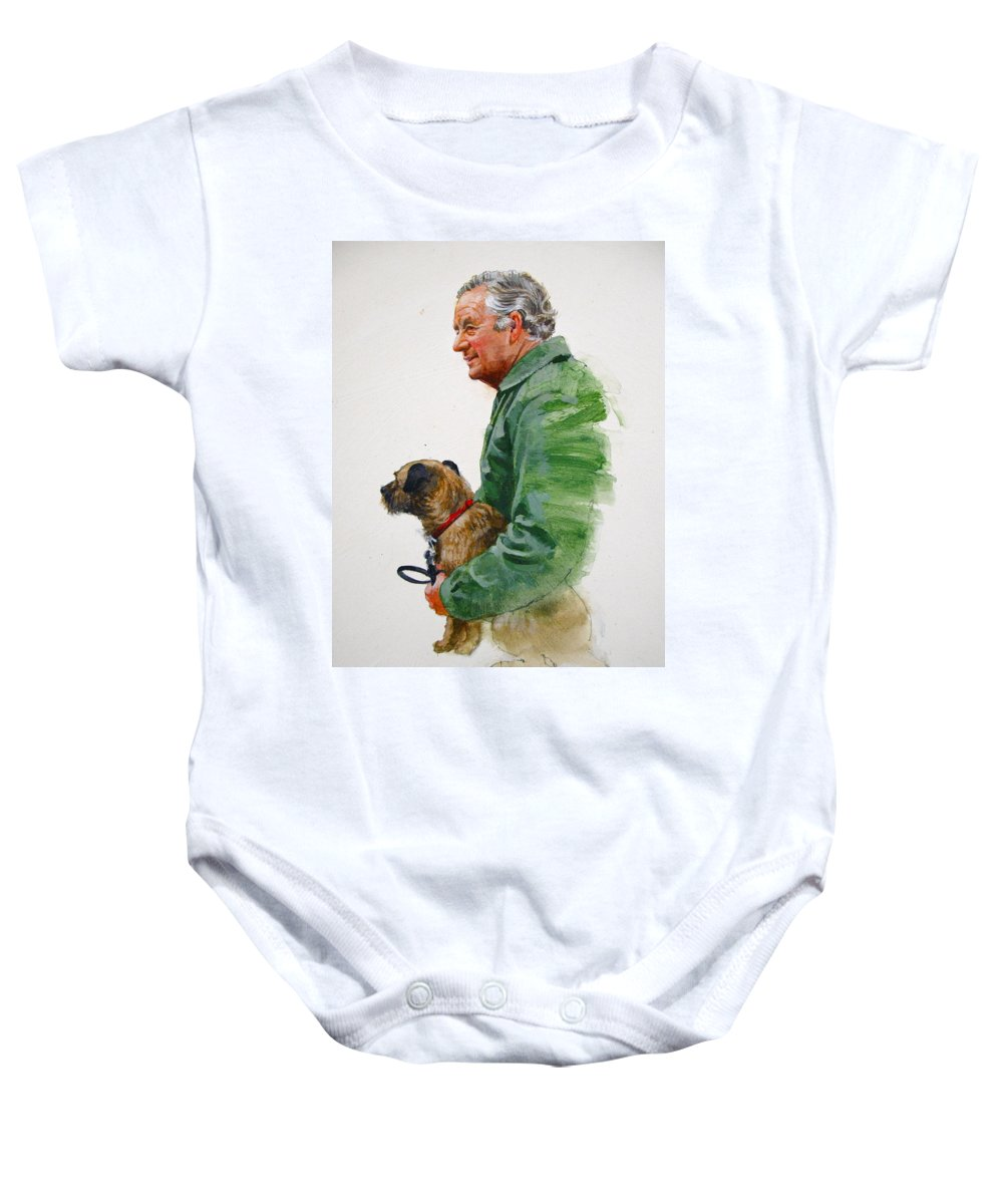 Portrait Baby Onesie featuring the painting James Herriot And Bodie by Cliff Spohn