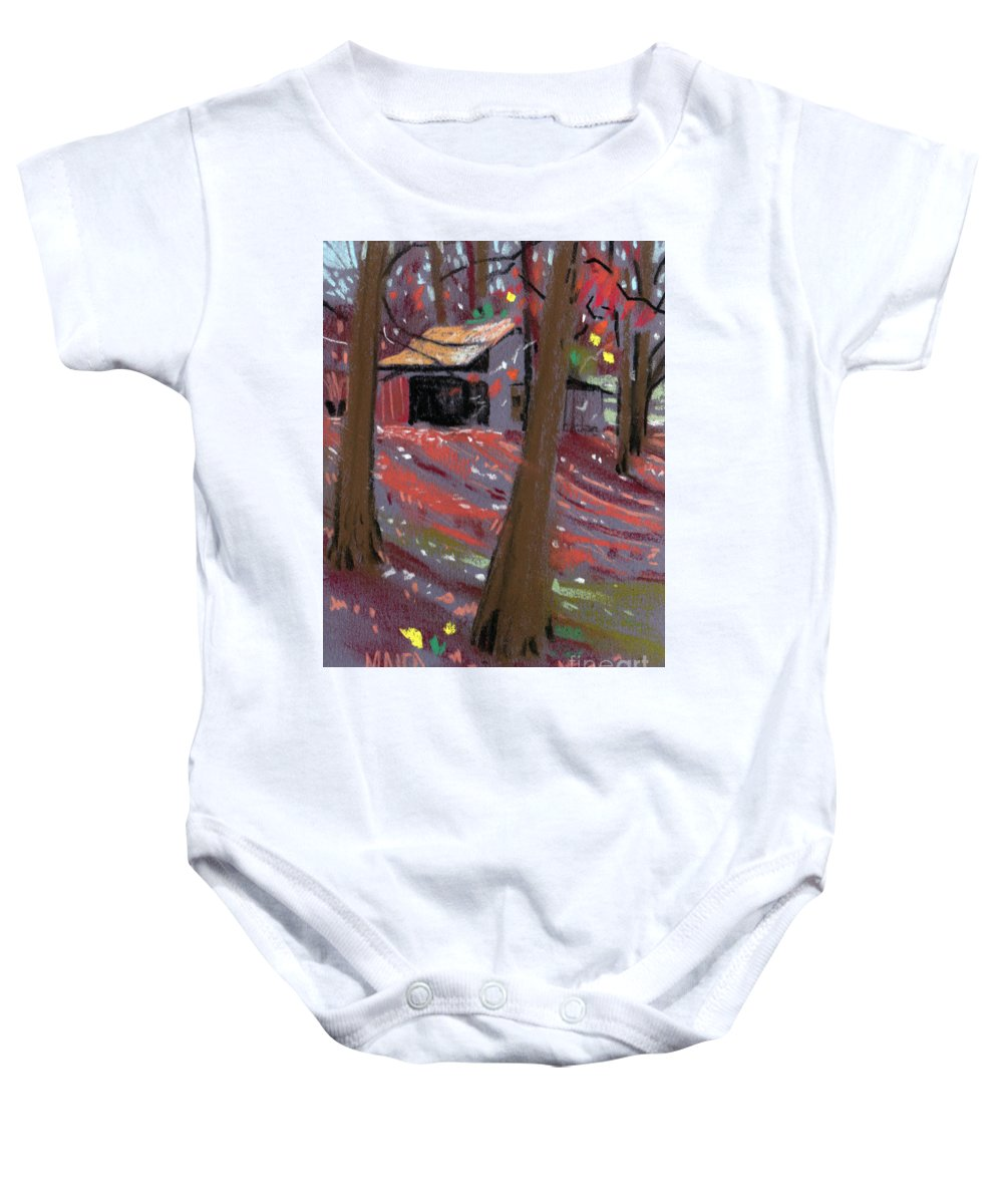 Barns Baby Onesie featuring the drawing James's Barns 3 by Donald Maier