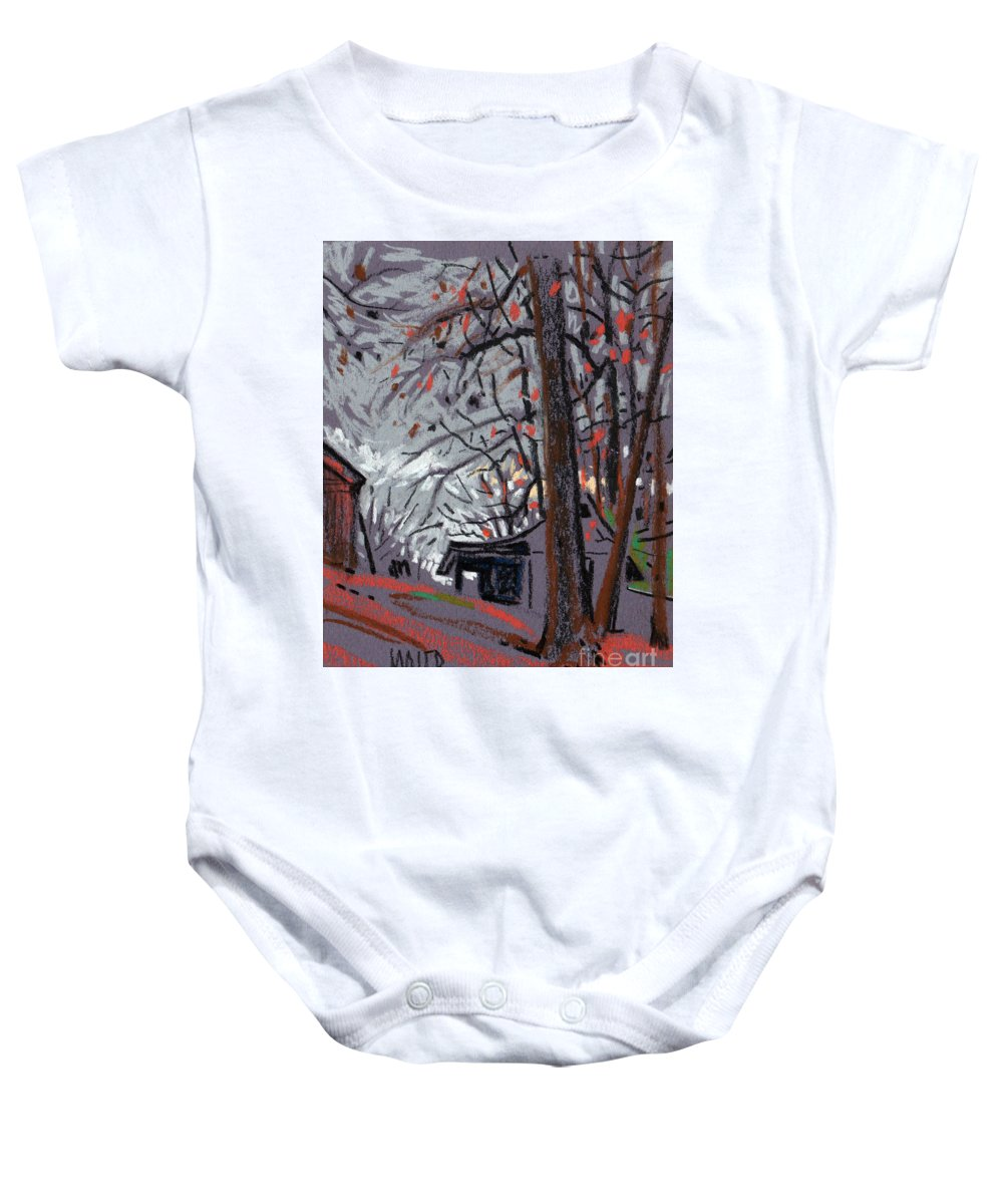 Barns Baby Onesie featuring the drawing James's Barns 7 by Donald Maier