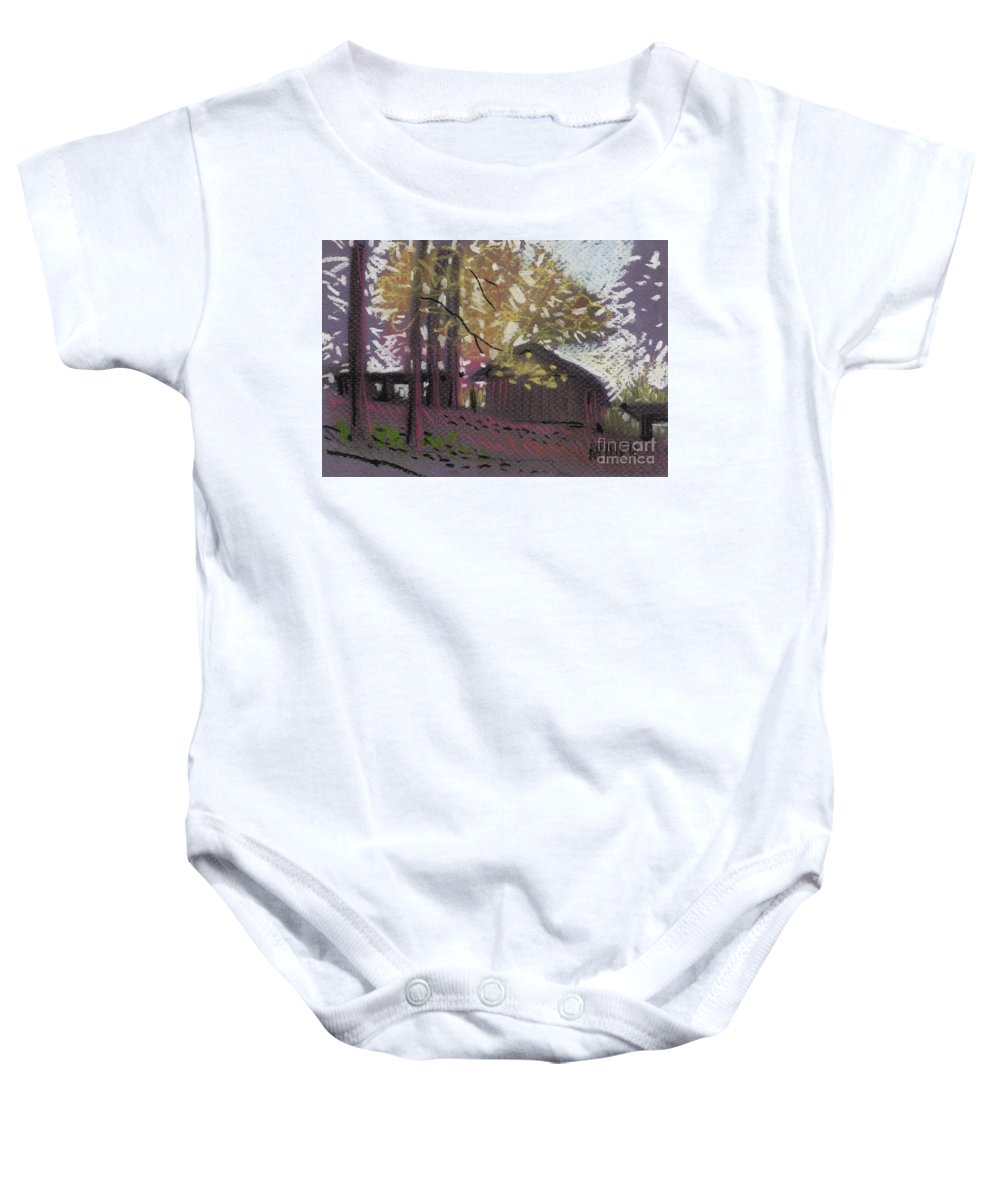 Pastel Baby Onesie featuring the drawing James's Barns 9 by Donald Maier