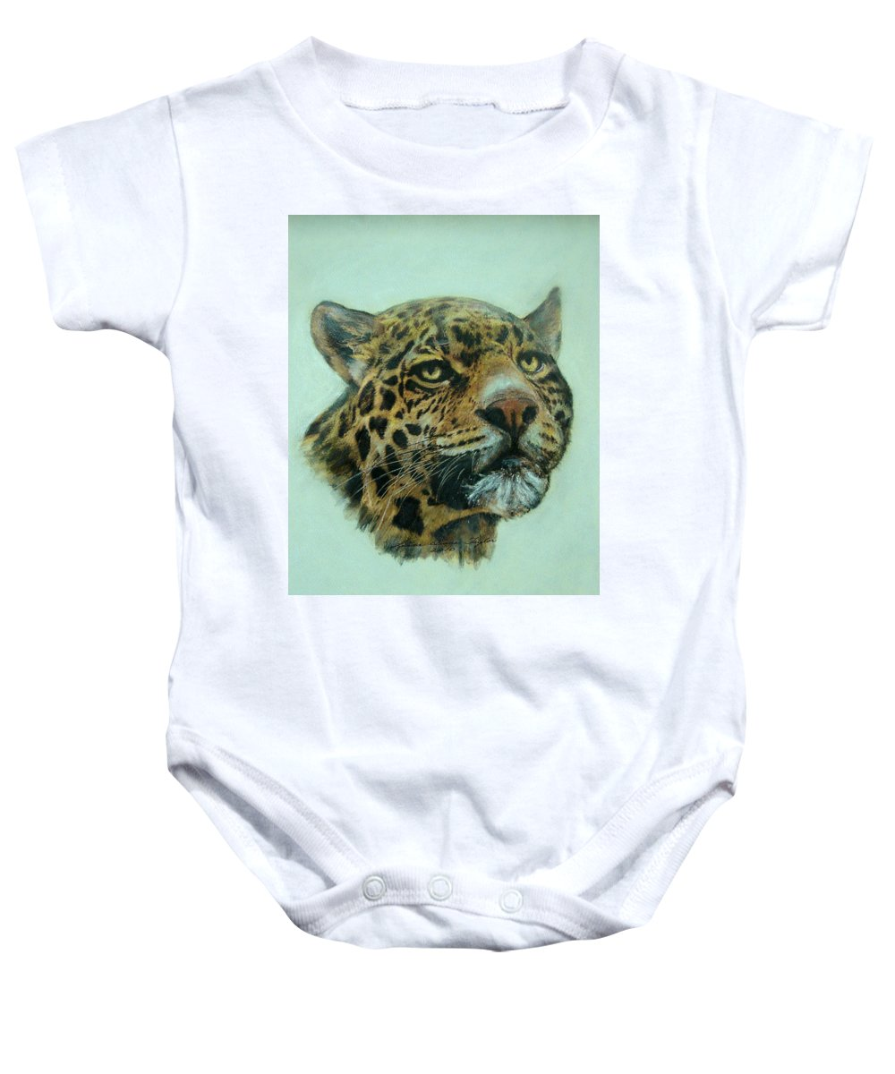 Jaquar Baby Onesie featuring the painting Jaquar by Linda Diane Taylor